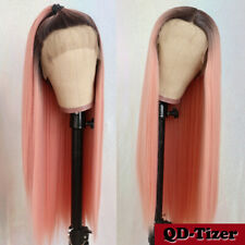 Ombre Pink Lace Front Wigs Heat Resistant Synthetic Long Straight Soft Hair 24''
