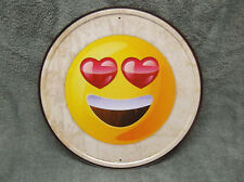 Emoji Love Eyes Tin Metal Sign Funny Computer Cell Phone Facebook Round NEW