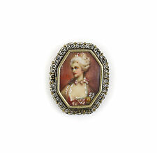 Continental Miniature Portrait in Gilt Silver .800 Brooch. 19th Century