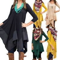 US Women Casual Plain Long Sleeve V Neck Tunic T Shirt Loose Dress Tops Blouses