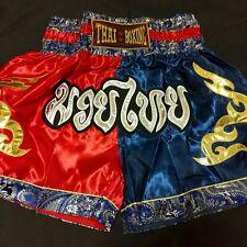 Muay Thai Shorts Mma Fight Kick Boxing Red Blue Color Size L Satin Unisex