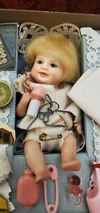 """Vintage All Bisque Strung German Averill Bonnie Babe Sewing Kit Repro 5"""" Doll"""