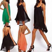 Sexy Damen Chiffon Rückenfrei Trägerkleid Mini Party Kleid Clubwear TOP CTB58