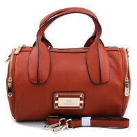 New Women Handbag Faux Leather Satchel Tote Bag Shoulder Bag Medium Purse Orange