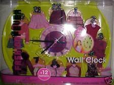 BARBIE FASHION FEVER WALL CLOCK PLUS 12 FASHIONS NEW