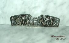 Antique VINTAGE Silver Plated Signed 90 S & F Embossed Pattern Hair comb Case