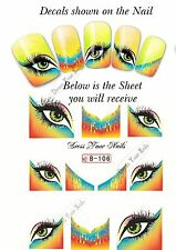 Nail Water Decal - French Tip EYES Print Transfers Sticker - B-106 - UK