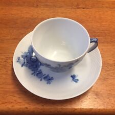 Royal Copenhagen   white with blue  flowers cup  & saucer hand painted