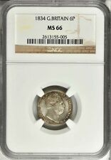 G.B./U.K./ENGLAND WILLIAM IV 1834 SIXPENCE COIN UNCIRCULATED CERTIFIED NGC MS66