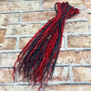 Cherry Red & Charcoal Double Ended Wool Dreadlocks - Choose Length & Amount