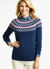 Talbots Navy Blue Fair Isle Crew Neck Long Sleeve Pullover Sweater Sz Petite P