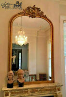 "Huge Antique French Gilt Wood Mirror Foliate Carved Scroll Arched Top 86.5"" 52"""