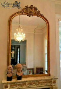 """Huge Antique French Gilt Wood Mirror Foliate Carved Scroll Arched Top 86.5"""" 52"""""""