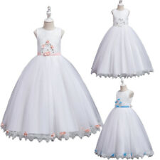 Flower Girls Kids Long Dress Wedding Bridesmaid Prom Party Gown Tulle Dresses