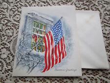 Vtg Famous Artists Studios US FLAG Christmas Card SNOWY PATRIOTIC UNUSED