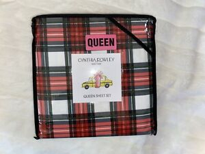 NEW Cynthia Rowley Red Green White Holiday Plaid Queen Sheet Set 4Pc