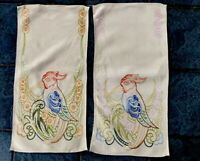 VINTAGE HAND EMBROIDERED NATURAL LINEN Exotic BIRD PANEL X 2 Chair Backs ?