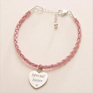 Ladies Leather Bracelet with Engraved Heart Charm, Pink or Black, Any Engraving!