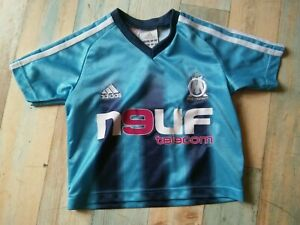 MAILLOT FOOT ADIDAS OM OLYMPIQUE DE MARSEILLE NEUF TELECOM TAILLE 2 ANS TBE