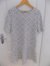 NEXT Ladies White Grey Patterned Dress  Size 8  Excellent Condition  Worn Once