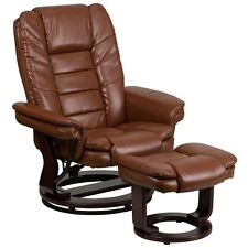 Contemporary Brown Vintage Leather Recliner And Ottoman