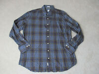 Peter Millar Button Up Shirt Adult Extra Large Blue Brown Plaid Long Sleeve Mens
