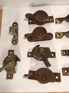 Antique Victorian Cast Iron Window Lock Hardware Large Grouping Eastlake