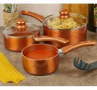 3 PCS URBN-CHEF Ceramic Copper Induction Cooking Pots Lid Saucepans Cookware Set