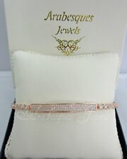 ARABESQUES JEWELS ROSE GOLD/STERLING SILVER/CRYSTAL IDENTITY TENNIS BRACELET