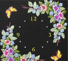 Ribbon Embroidery Kit Unique Flowers Clock Face with Clock Movement RE3066
