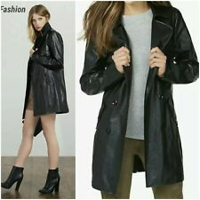 New Womens Black Double-Brested Long Sleeve Faux Leather Trench Jacket/Coat L/XL