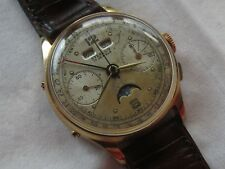 Steelco Chronograph Triple Date & Moon Phase mens wristwatch gold filled case