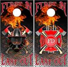 Firefighter First In Last Out LAMINATED Cornhole Wrap Bag Toss Skin Decal