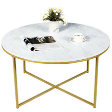 Modern Round Accent Side Coffee Table Faux Marble Top w/ Metal Base Living Room