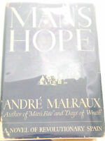 Vintage Book 1st Edition MAN'S HOPE Andre Malraux FICTION 1st Printing