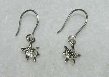 Petite Turtle Dangle Earrings Sterling Silver Nautical Tiny French Wires