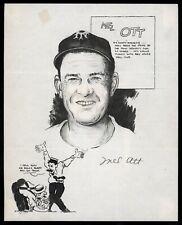 Mel Ott 1942 AUTO Signed Original Sketch by Ray St. German PSA/DNA RARE