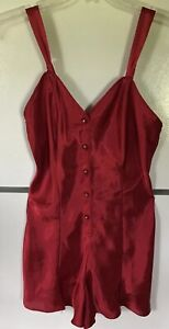 CACIQUE Lingerie Romper Red Teddie nightgown Women's Small Sexy One Piece L👀K ✨
