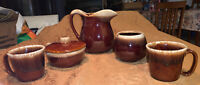 Vtg. MCCOY 5 Pc Brown Drip Glaze Pitcher, 2 Cups, Small Pot & Handled Bowl