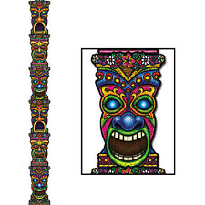 7 FEET!  Jointed TIKI TOTEM POLE Cardboard Cutout Hanging Luau Birthday Party De