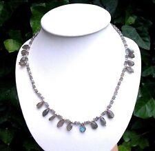 Echte Edelstein-Halsketten & -Anhänger im Collier-Stil aus Sterlingsilber mit Labradorit für Damen