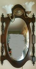 Vintage Carved Wood Frame Oval Glass Mirror With Two Lights Sconce