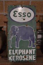 Vintage Original Porcelain Green Esso Elephant Sign