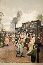 ESTAMPE COULEURS Environs de Paris C. DETTI TRAIN du DIMANCHE JOURNAUX MODE 1885
