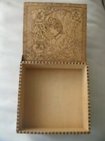 Antique Art Nouveau Gibson Girl Woman Floral Pyrography Wood Hankie Jewelry Box