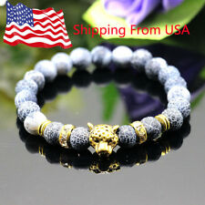 New Men's Charm Leopard Head Bead Lava Rock Stone Beads Energy Fashion Bracelets
