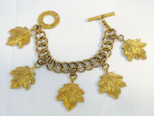 Guy Laroche Paris signed link Bracelet Vintage goldtone chain vine leaves charms