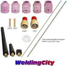 "TIG Welding Torch 9/20 Kit Gas Lens-Tungsten (Blue) .040""-1/16"" T49B | US Seller"
