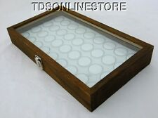 Rustic Antique Brown Color Glass Top Display Case With 36 Gem Jars White