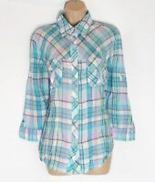 Women's Vintage MARCO PECCI 3/4 Sleeve Fitted Check Linen Shirt Blouse Size UK20